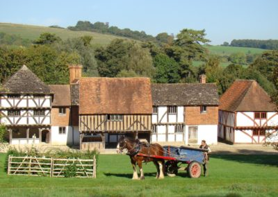 Luxury Self Catering - The Weald and Downland Museum in West Sussex with a horse and car and trees in the background